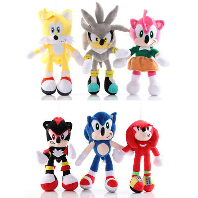 Sonic The Hedgehog Plush Toys Set Shadow Knuckles Amy Rose Tails Kids Gift 6pcs