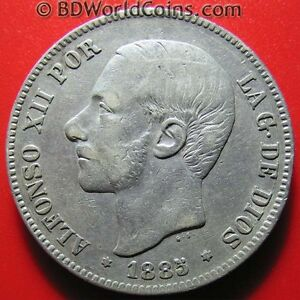 SPAIN-1885-86-MS-M-5-PESETAS-SILVER-BETTER-DATE-ALFONSO-XII-SPANISH-WORLD-COIN