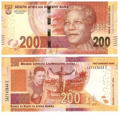 SOUTH AFRICA 200 RAND 2018 P 147 100TH COMM MANDELA UNC