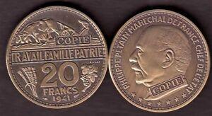 JOLIE-COPIE-DE-L-039-ESSAI-BRONZE-DE-BOUCHARD-DE-LA-20-FRANCS-1941-PETAIN