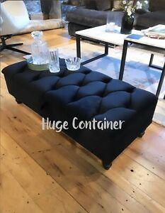 Black Storage Ottoman Velvet Upholstered Handmade Coffee Table Or Footstool Ebay