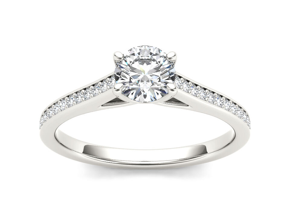 Solid 14k White gold 0.50 Ct Diamond Classic Engagement Ring I2