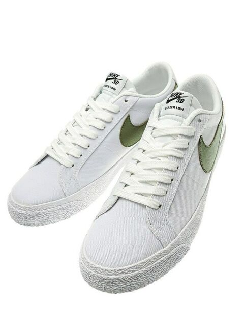 another chance fbad5 3ea0d Nike SB Blazer Zoom Low Canvas Men's White/Palm Green Sneakers 10M