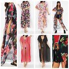 Womens Floral Print Chiffon Long Maxi Kimono Kaftan Side Slit Tie Front Cardigan