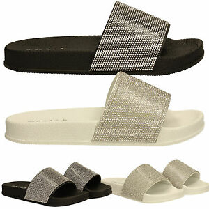 e73909429 Womens Diamante Slides Mules Ladies White Black Silver Beach ...