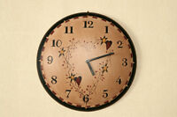 Star Heart Wooden Clock Wall Hanging Berries Dome Country Primitive