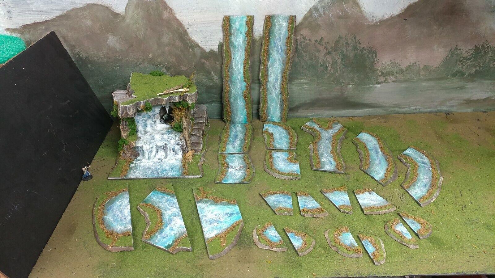 28mm MadeTo Order FOO-UBU TERRAIN DELUX 7ft River + Waterfall w Tunnel & Steps