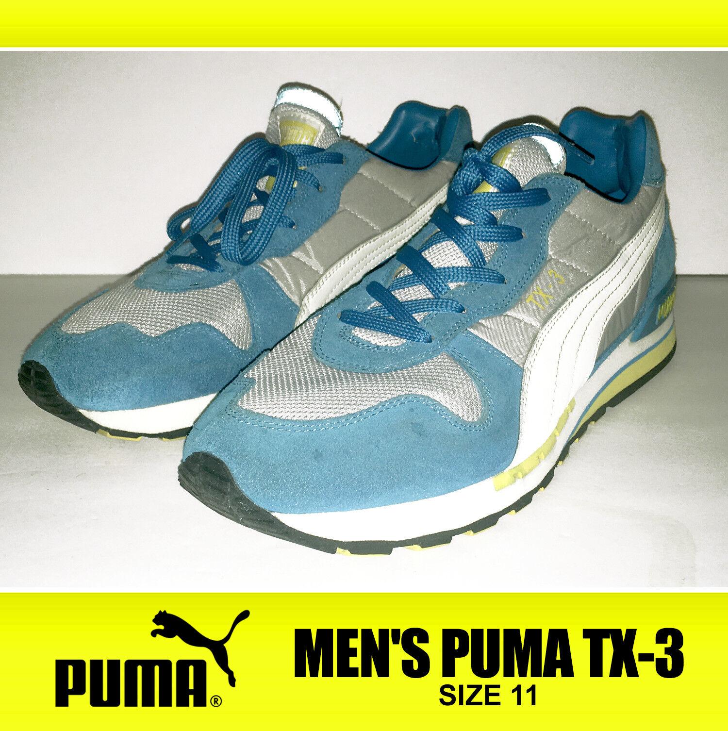 RARE! Men's Puma TX-3 Shoes Turquoise Blue Gray Runner Trainer Track Sprint Sunn