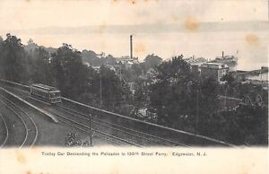 c1905-Trolley-Car-Descending-Palisades-130th-St-to-Ferry-Edgewater-NJ-postcard
