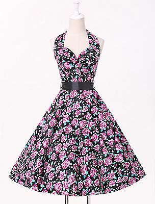 DISCOUNT Cotton Polka Dots/Floral Rockabilly Dress Pin Up Vintage 50s Prom Swing