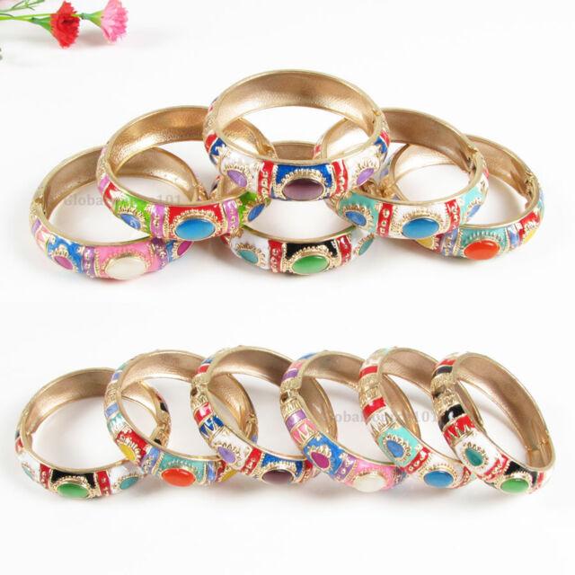 BG017 18mm Wide Fashion Cat-eye Gold PLT Enamel Alloy Bangle Bracelet Cuff