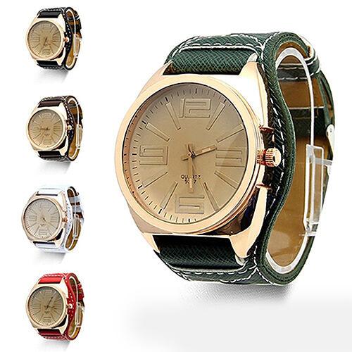 Unisex Fashion Big Round Dial Faux Leather Strap Quartz Wrist Watch Noble