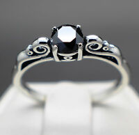 .51cts 5.24mm Natural Black Diamond Ring, Certified Aaa Grade & $390 Value