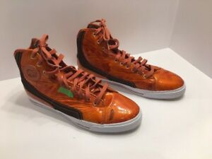PF-Flyers-High-Top-Shoes-Sz-13-Mens-Glide-Wet-Orange-Sneakers-Basketball-FLAWS