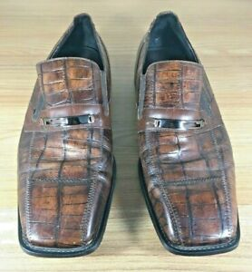 Giorgio-Brutini-Dress-Shoes-Snake-Skin-Brown-Size-12-Mens-Slip-On-Fashion