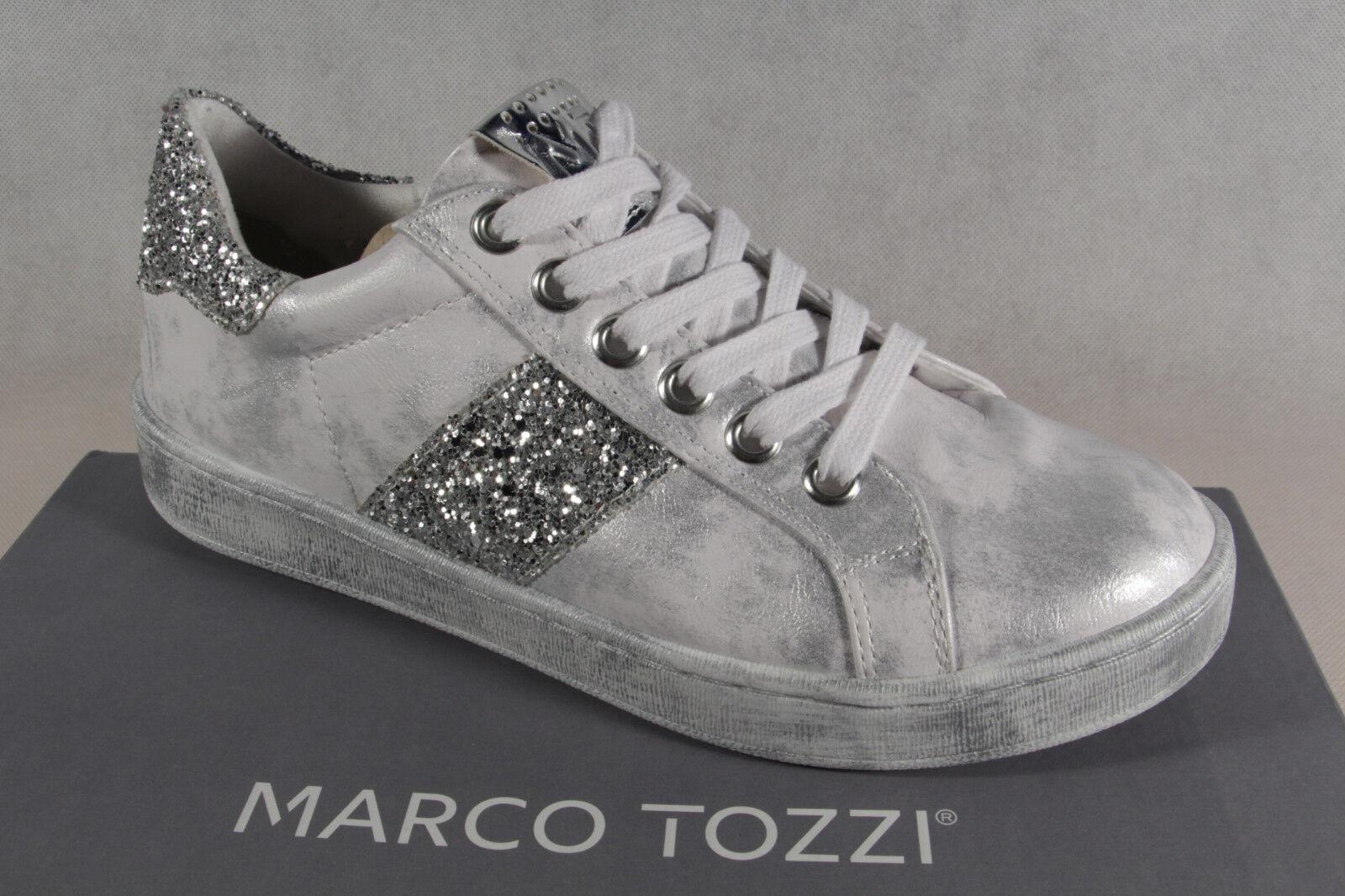 Cómodo y bien parecido Descuento por tiempo limitado Marco Tozzi Zapatos De Cordones Zapatilla deporte Bajas Blanco/PLATA 23737 NUEVO