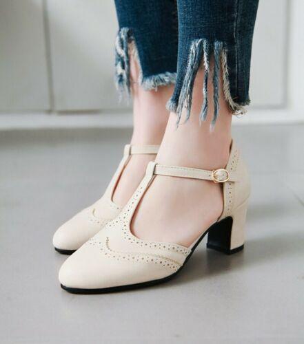 Womens Vintage T Strap High Block Heels Mary Janes Shoes Retro Bogue Pumps New
