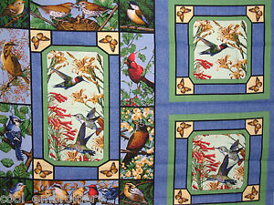 Bird-birds-cotton-quilting-fabric-panel-or-allover-print-Choose-design-amp-size