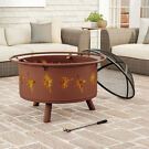 "Pure Garden 32"" Outdoor Deep Fire Pit- Round Large Steel Bowl"