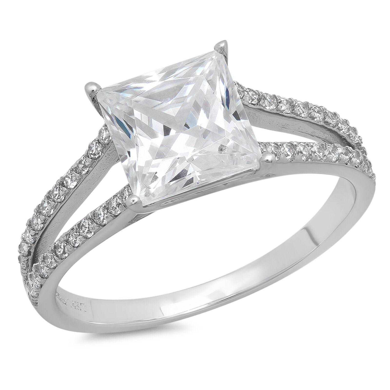 2.32ct Princess Cut Wedding Bridal Engagement Anniversary Ring 14k White gold