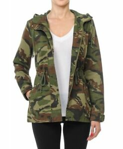 Women-039-s-Camouflage-Anorak-Military-Camo-Drawstring-Hooded-Jacket-S-L