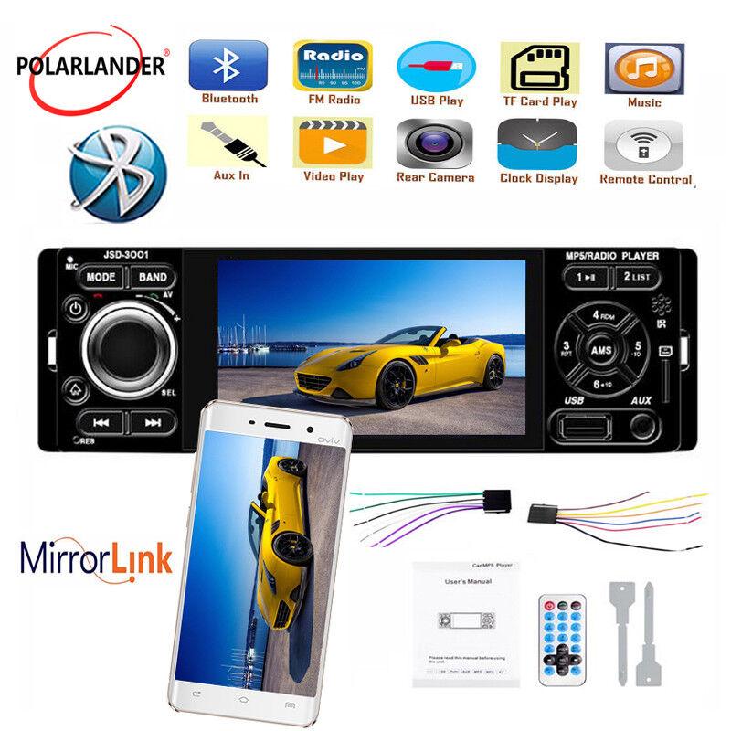 autoradio: 4″ 1 din Autoradio SD MP5 FM USB AUX Stereo Bluetooth Mirror Link Touch Screen