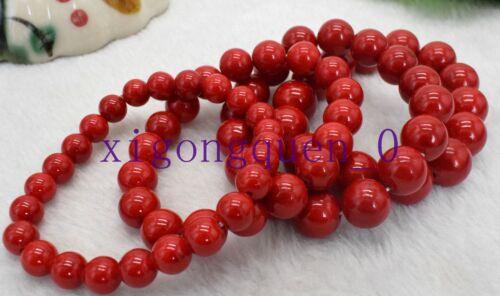 New 6mm 8mm 10mm 12mm 14mm Red Coral Gemstone Beads Bracelet Bangle 7.5/'/'