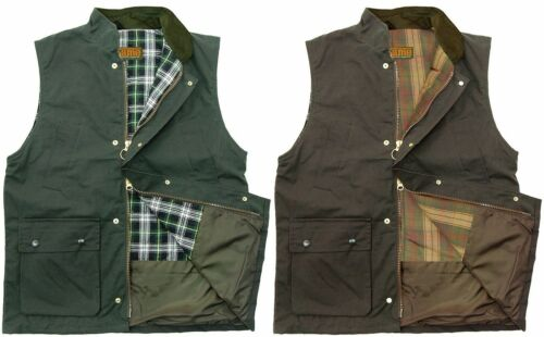 Men/'s Wax Gilet Bodywarmer Cotton Quilted Waistcoat Fishing Hunting Outdoor New