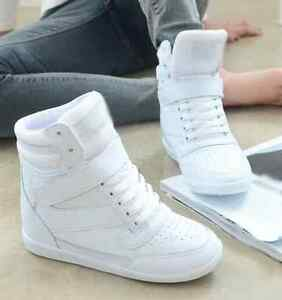 womens girls high top fashion sneakers ankle boots lace up