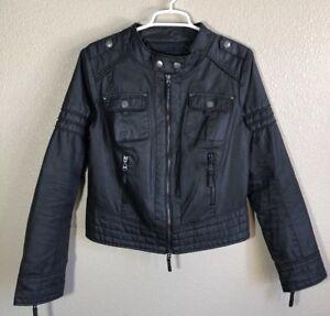 Nwot zip con Waxi cotone Blanc da Giacca nera in Noir moto wqRIxPWpa
