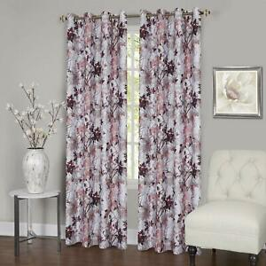 Floral Window Curtain Darkening Blackout Panel Lined with 16 Grommet Panel