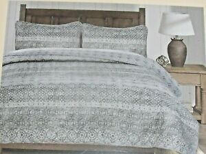 New King Quilt Set Gray Amp White Floral W 2 King Pillow