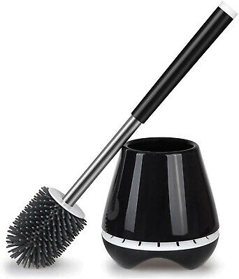 Wall-Mounted Toilet Bowl Cleaner Brush with Cleaning Gloves and Diatom Mud for Bathroom Cleaning and Organization TPR Silicone Bristle Toilet Bowl Brush Toilet Brush and Holder