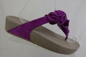 FIT-FLOP-Thong-Purple-Sz-9-Women-Suede-Floral-Sandals