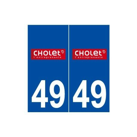 49 Cholet logo autocollant plaque stickers ville -  Angles : arrondis