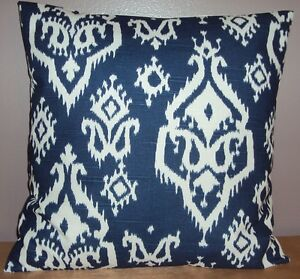 New 16x16 Navy Blue and White Ikat Print Cotton Throw Pillow Cover