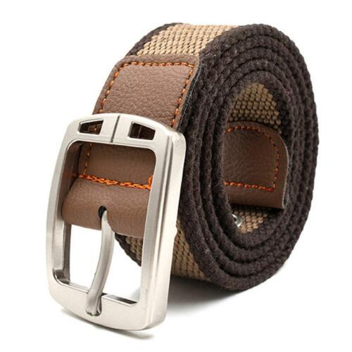 Tactical Belts For Men High Quality Canvas Striped Pattern Casual Knitted Straps