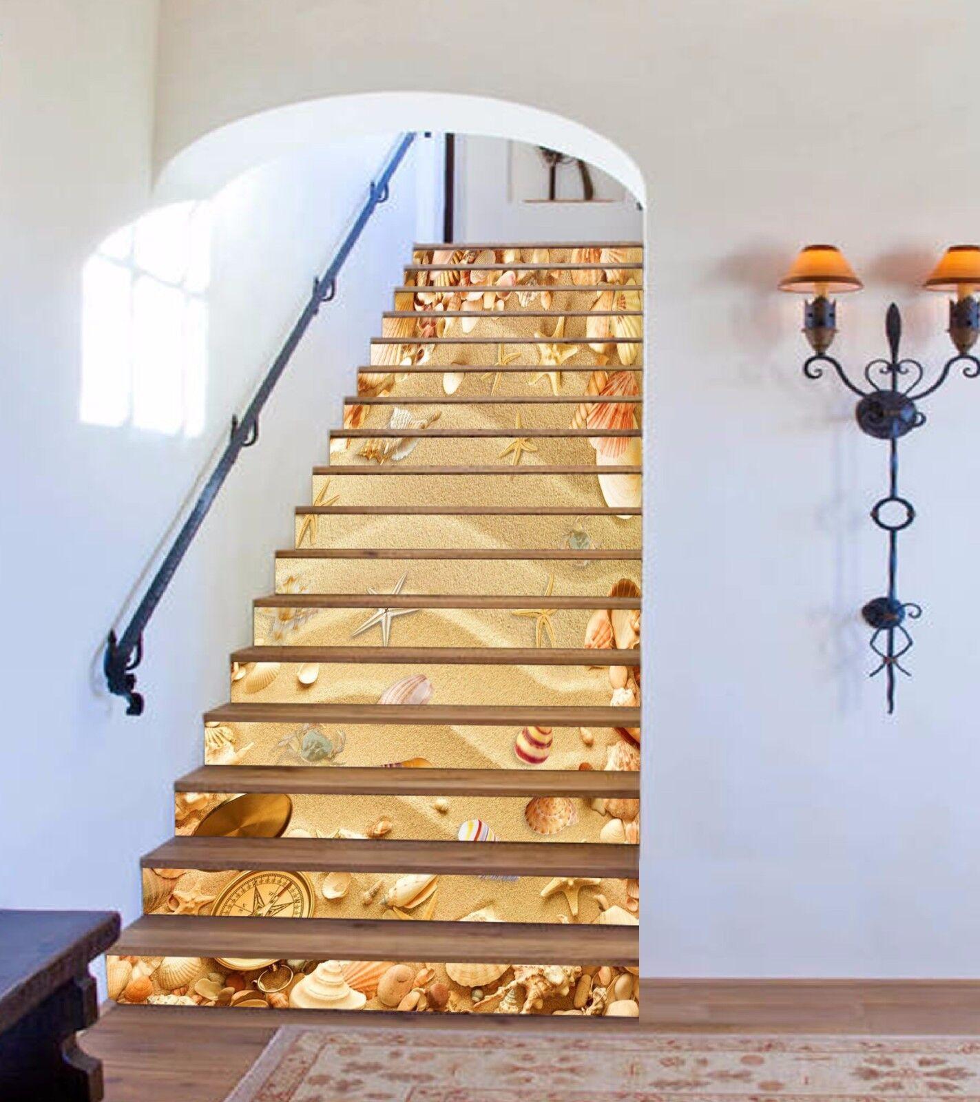 3D Sand Schale 769 Stair Risers Dekoration Fototapete Vinyl Aufkleber Tapete DE