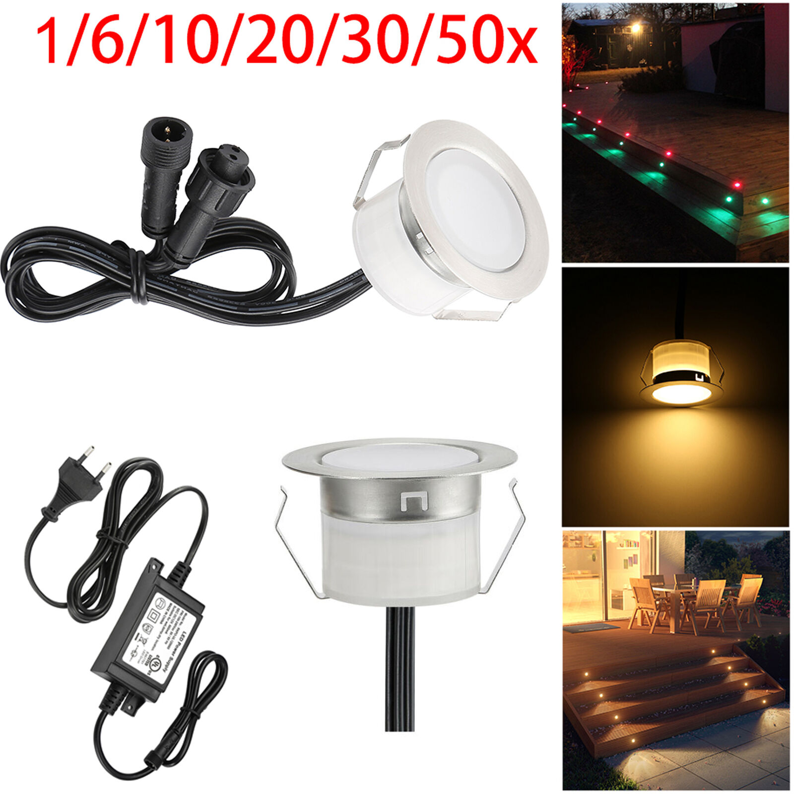 1-50er Set RGBW Warmweiβ RGB LED Bodeneinbaustrahler Einbauleucht Terrasse Lampe