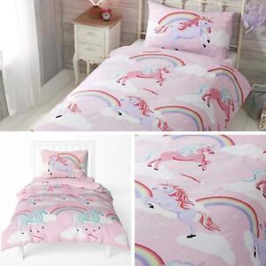 Unicorn-fundas-nordicas-Rosa-Arco-Iris-Unicornios-Ninos-Ninas-Sets-de-ropa-de-cama-cubierta-del