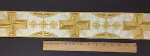 Orphrey-Vintage-Oro-Cojos-Cruz-en-Cojos-Banda-8-9cm-Ancho-Vendido-por-Patio