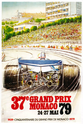 AZ12 Vintage 1979 Monaco Grand Prix Motor Racing Poster Re-Print A2//A3//A4