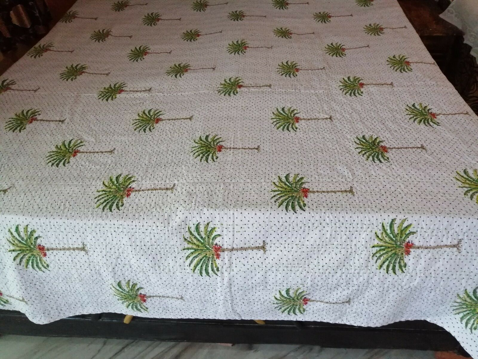 Christmas special Tree Print Handmade IndianCotton Kantha Quilt coverletBlanket