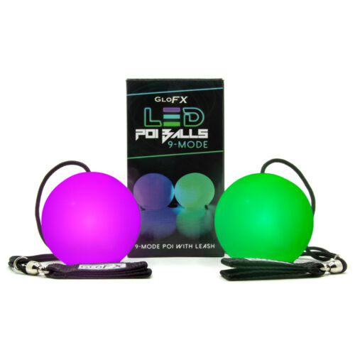 LED Poi Balls 9 Mode Multicolor Rainbow USA High Quality Fast Shipping Spin FX