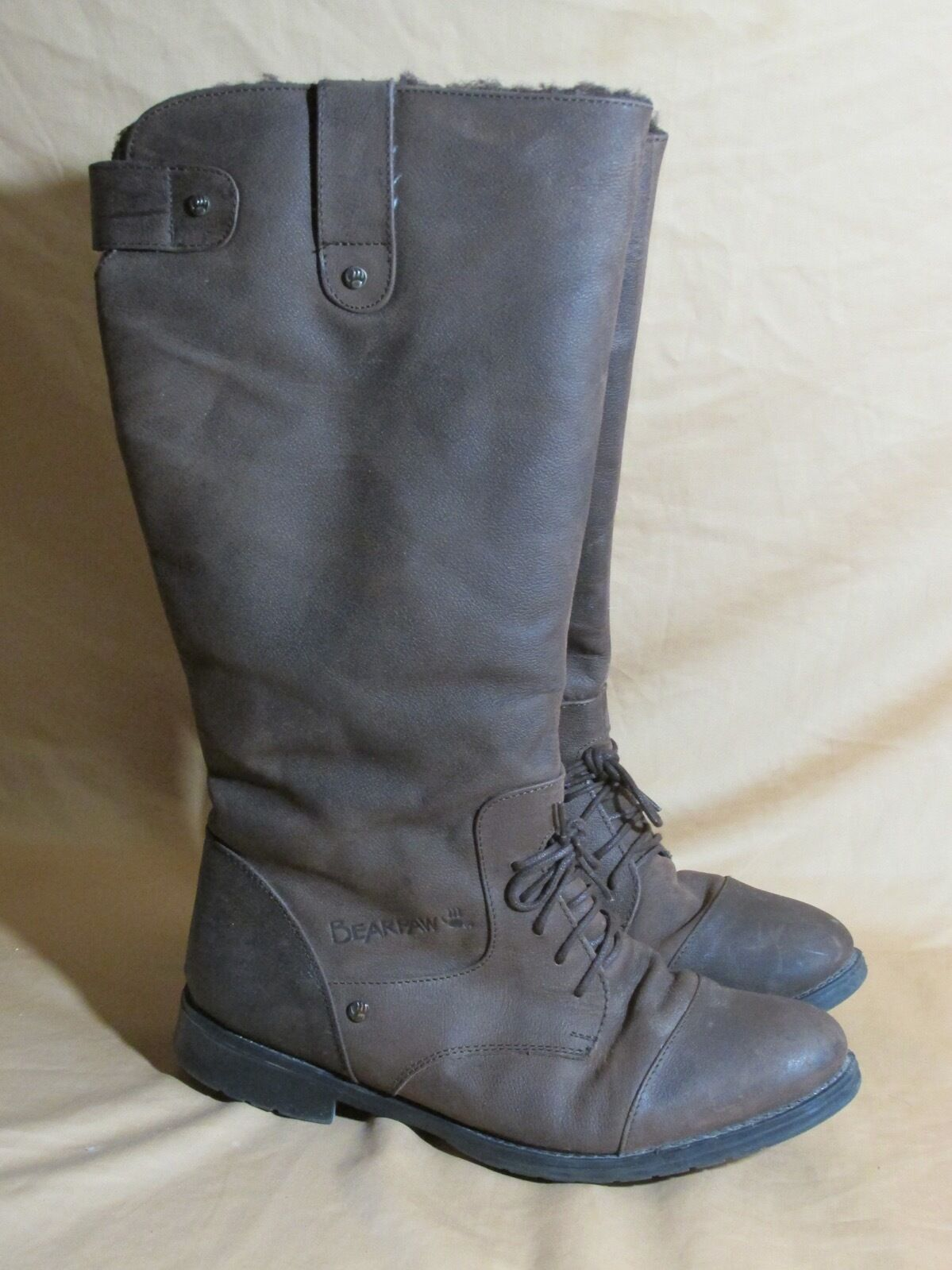 damen's Bearpaw Leather Riding Stiefel Wool Lining - Sheepskin Footbed braun Sz 10