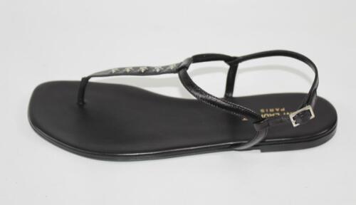 lederen Auth Ysl Laurent 5 zwart Saint Dames schoenen T sandaal 34 strap WEDH9IY2