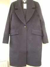 H&M Dark Blue Wool-Blend Coat Size 12 EUR 38 BNWT