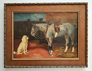 Antique Oil Painting on Wood Panel Poodle Dog & Horse Interacting Stable Scene