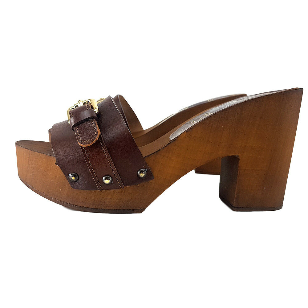 Holzschuhe Damen MARRONI-Made -dal in -dal MARRONI-Made 35 al 41 Absatz 9 cm-MY1036 Leder 8ab418