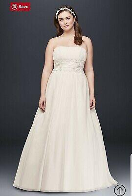 David\'s Bridal Chiffon Empire Waist Plus Size Wedding Dress Size 26W   eBay